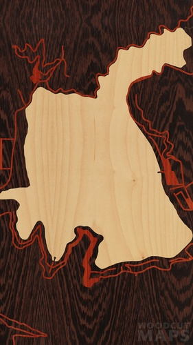 Wood Inlay Maps Of Loon Lake Washington Woodcut Maps
