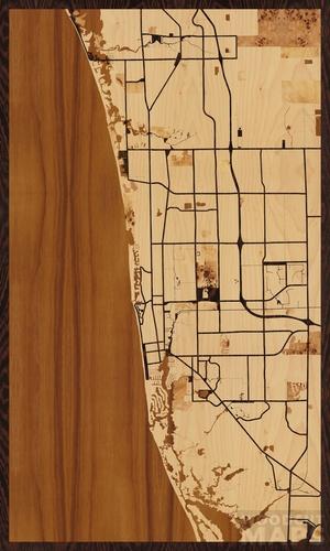 Map Of Naples Florida.Wood Inlay Maps Of Naples Florida Woodcut Maps