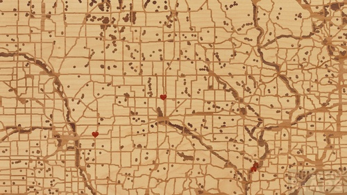 Wood Inlay Maps Of Nevada Iowa Woodcut Maps