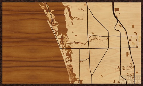 Wood Inlay Maps Of Bonita Springs Florida Woodcut Maps