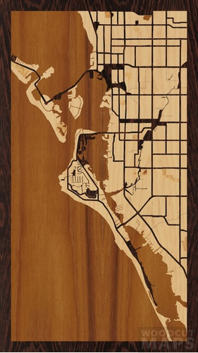 Wood Inlay Maps Of Siesta Key Florida Woodcut Maps