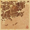 "8""x8"" Woodcut Map of Le Lavandou"