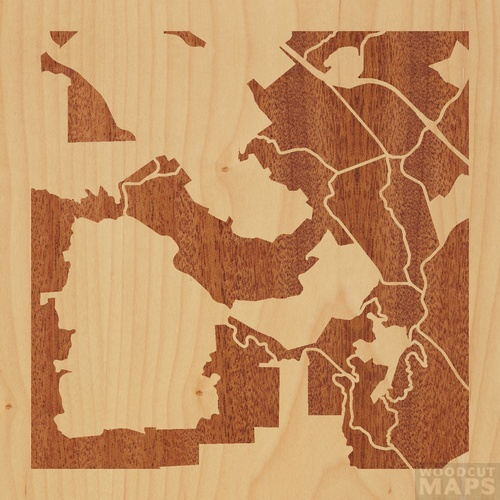 Wood Inlay Maps Of Redwood City California Woodcut Maps