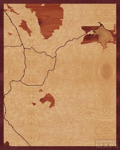 Wood inlay maps of Redwood City, California - Woodcut Maps