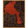 "16""x20"" Woodcut Map of Lake Luzerne-Hadley"