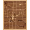 "16""x20"" Woodcut Map of Des Moines"