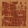 "8""x8"" Woodcut Map of Santiago"