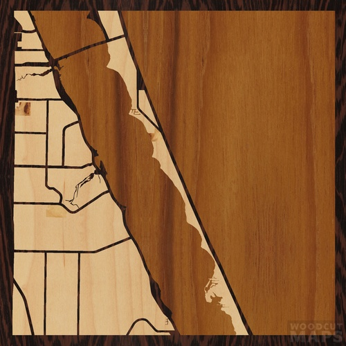 Wood Inlay Maps Of Melbourne Beach Florida Woodcut Maps