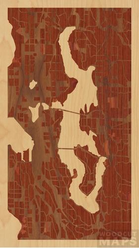 Medina Washington Map.Wood Inlay Maps Of Medina Washington Woodcut Maps