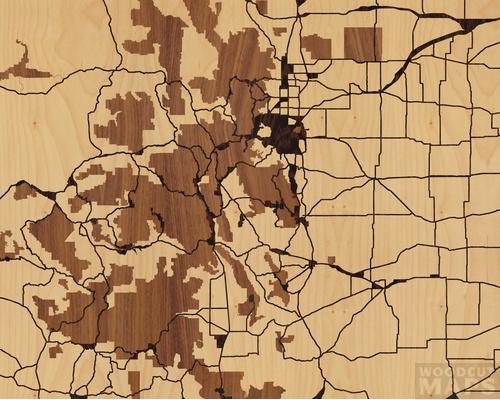 Wood Inlay Maps Of Lake George Colorado Woodcut Maps