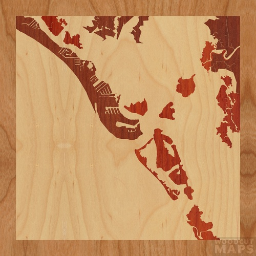 Map Of Fort Myers Beach Florida.Wood Inlay Maps Of Fort Myers Beach Florida Woodcut Maps