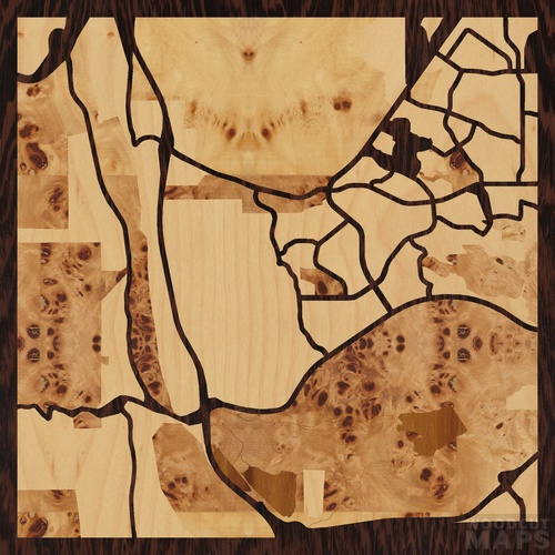 Wood inlay maps of Lakewood, Colorado - Woodcut Maps