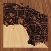 "8""x8"" Woodcut Map of Los Angeles"